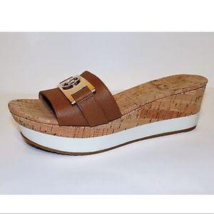 e736190094a MICHAEL Michael Kors Shoes - NEW MK WARREN PLATFORM SANDAL SLIDES BROWN GOLD